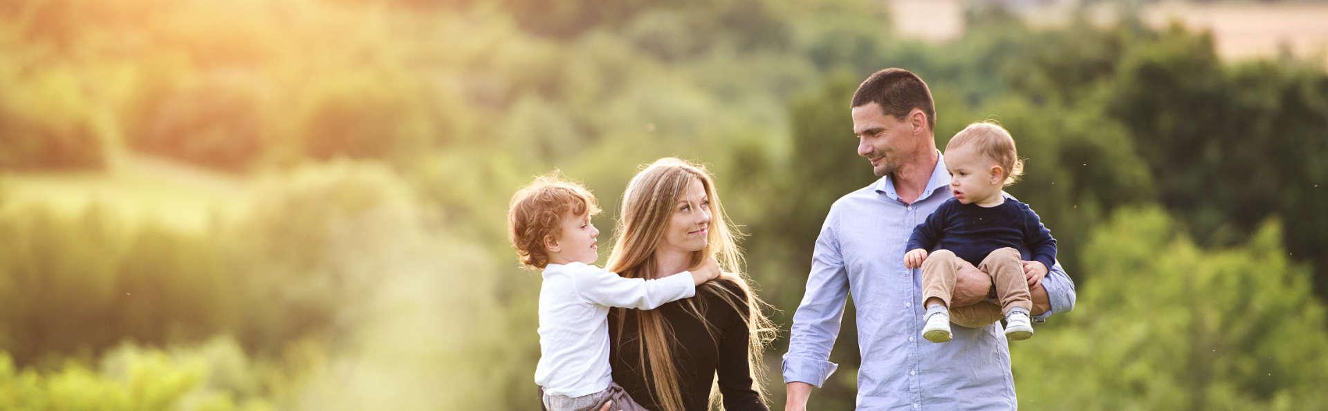 smiling family while walking
